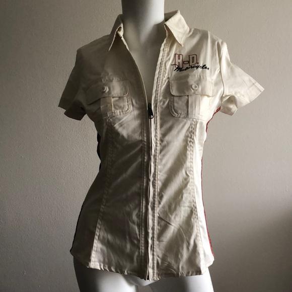 Harley Davidson Women's Color Block Zip Shirt NWT